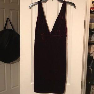Red velour bodycon dress